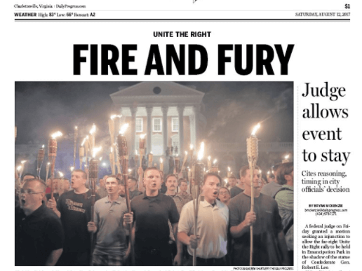 VA Newspaper Uses Trump's Own Words to Describe Charlottesville Protest